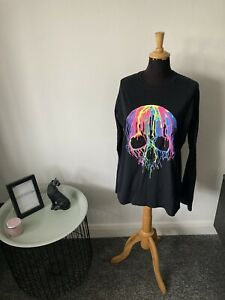 Velocitee Long Sleeved Halloween Skull Print Neon T-Shirt - Size XL