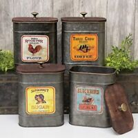 Kitchen Antique Label Canister Set of 4 Canisters