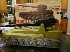 Vintage Mobile Cannon Tank By Ideal With Box Army Toy Military GI