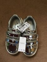 Next Girls Silver Shine Trainers Shoes Size 8 Infant Brand New
