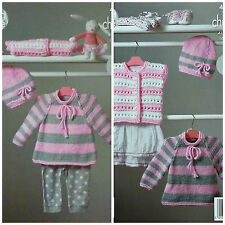 Baby KNITTING PATTERN Easy Knit Striped Jumper Waistcoat & Hat Chunky KC 4229