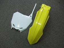 YELLOW UFO FRONT FENDER + WHITE NUMBER PLATE RMZ STYLE SUZUKI 01-08 RM125 RM 125