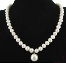 7-8MM Real Natural White Pearl&12MM Shell Pearl Round Bead Pendant Necklace 18""
