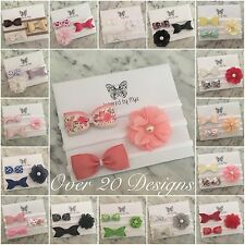 3x Headband Baby Girl Toddler Newborn Bow Flower Leather Nylon Hair Accessory