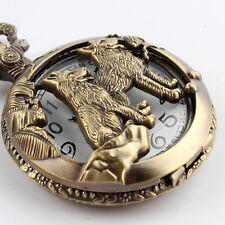 Unisex Bronze Wolf Hollow Quartz Pocket Watch Necklace Pendant Women Men's Gifts
