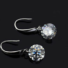 !!Sterling Silver 925 Stamped Naked Drop Earrings w/ Swarovski Crystal Stone!!