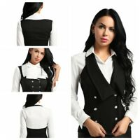 Women Lady Suit Waistcoat Vests Formal Business Work Uniform Slim Tops Backless