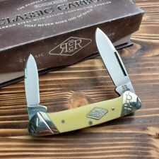 Rough Rider Canoe Yellow Handle Carbon Steel Folding Pocket Knife RR1736