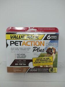 PetAction Plus Flea & Tick Treatment for Dogs 89-132 lbs, 6 Months, #5458
