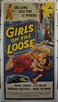 1958 Girls on the Loose Paul Henreid 3 Sheet Movie Poster Vintage Original Linen