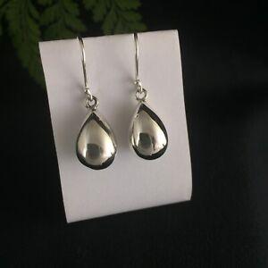 Modern Shiny Large Teardrop Sterling Silver Earrings on Hooks