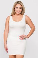 Yelete Plus Size White Stretchy Body Sleeveless Mini Tank Dress