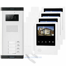 4.3'' 4-Apartments Video Communal Entry Intercom with Lock Release & HD Camera