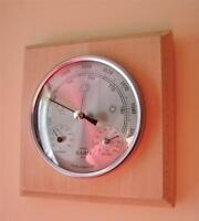 Weather Station Barometer Thermometer Hygrometer Natural Wood Finish Wall Mount