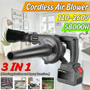 21V 2000W Brushless Cordless Leaf Blower Sweeper Blower Li-ion Battery 58000mAh