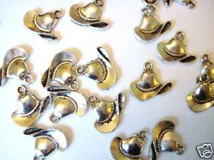 20 Texas Cowboy Hat Silver Plated Charm/scrapbooking/craft/cow boy/tag/bow K30