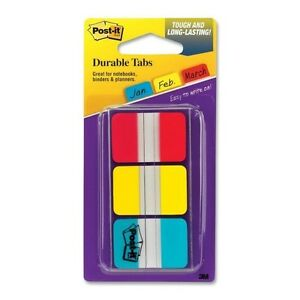 POST-IT DURABLE INDEX TABS 1X1.5 3/PK-36 tabs-writable- 3 colors