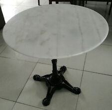 ROUND White Marble Top Table 80cm Black iron base SEATS 4 DELIVERED* - SAVE $230