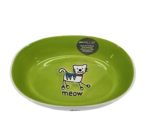 Petrageous Designs Green White Oval Cat Food Bowl Dish Ceramic MEOW stoneware