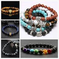 Women's Men's Natural Lava Rock Gemstone Beads Buddha Lion Charm Beaded Bracelet