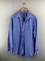 R.M. Williams Stockyard Men's Long Sleeve Button Up Shirt Size L Blue Stripe