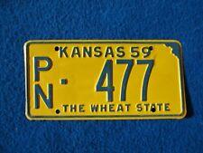VINTAGE ORIGINAL KANSAS 1959 PN 477 License VEHICLE Tag Man Cave Reissue.