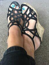 👠 Stunning Ladies Black & Cork Wedge Heel Shoes Size Uk 6 By New Look