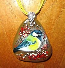 Genuine Russian hand painted Natural Stone pendant GARDEN BIRD WINTER BLUE TIT