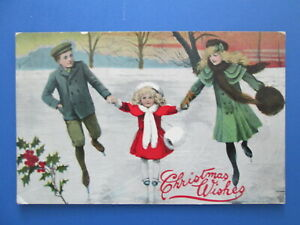 Vintage Christmas Postcard Children Skating
