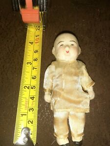 """ANTIQUE GERMAN BISQUE Mignonette Jointed Arms Legs LOVELY TINY 4"""" DOLL"""
