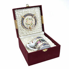 More details for benjarong china mug, lid & saucer - elephant handle in a silk gift box