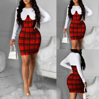 Women's Plaid Check Bodycon Mini Dress Ladies Sexy Clubwear Xmas Party Dresses