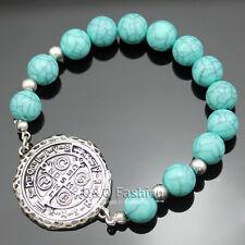 Catholic Saint St. Benedict Medal Cross Turquoise Bead Silver Bracelet Bangle