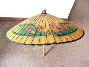 Vintage Japanese Rice Paper and Bamboo Umbrella Black Enameled Bamboo Slats Red Rose and Butterfly Motif Retro Asian Collectible