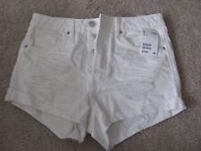 H&M High Waist Distressed Shorts White US 6