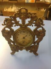Vintage Art Nouveau Gold Gilt Bronzed New Haven Desk Clock with Cherub