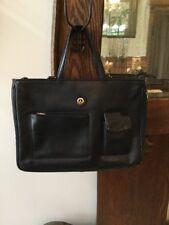Authentic LA TOUR Eiffel 1887 Black PEBBLED EXPANDABLE Business Leather Hand Bag