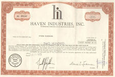 Haven Industries > 1973 stock certificate scripophily share