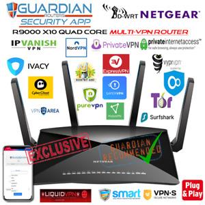 Netgear R9000 X10 MULTI-VPN Router 30 VPN providers + Guardian App & DNSCyrpt