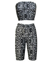 Snake Skin Reptile Bandeau Crop Top Vest Cycling Shorts Co-ord 2 Piece Set Trend