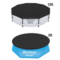 Bestway Range of PVC Round Swimming Pool Cover for Fast Set, Steel Pro Max Pool