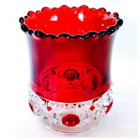 """Antique Red Block by US Glass Ruby Red Flash & Clear Toothpick Holder 2.75"""" USA"""