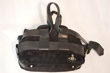 Vivienne Westwood Black Suede & Leather Large Silver Orb Zip Top Womens Handbag