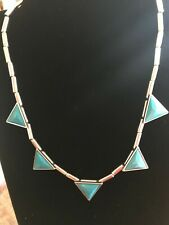 Silver Tone Blue Triangle Shaped Pendants Necklace