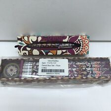 Vera Bradley Ball Point Pen and Pencil Box Set in Plum Crazy NWT