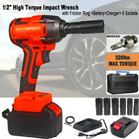 """Cordless 1/2"""" Drive Impact Wrench Gun Electric High Torque Wrench+FRICTION RING"""