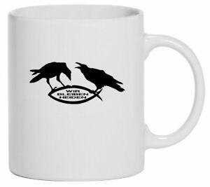 Tasse Kaffeebecher   Hugin & Munin   21-298-T   Wir bleiben Heiden   Rabenbrüder