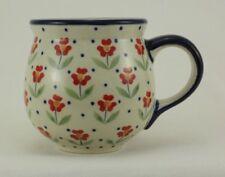 Bunzlauer Keramik Tasse BÖHMISCH, blau/weiß/rot, Blumen - 0,3 Liter, (K090-AC61)