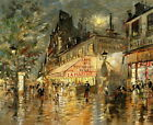 Paris Street Scene at Night Oil painting Wall art Giclee Printed on Canvas P134