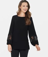 Dennis Basso Caviar Crepe Tunic w/Lace-Trimmed Sleeves - Black - Medium